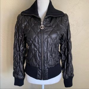 JLo Black Quilted Leather Bomber Jacket